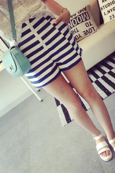 Fashion Woman Striped Zipper Fly Mid Regular Blue Cotton Shorts