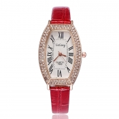 Fashion Woman Diamond Roman Numerals Red PU Watch