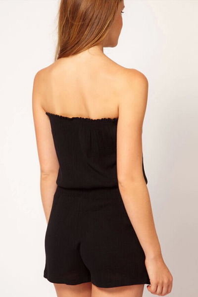 a7e9d1f62faf Fashion Boat Neck Strapless Sleeveless Solid Black Cotton Blend One-piece  Regular Jumpsuit