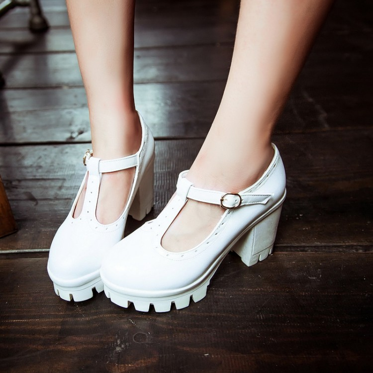 Fashion Round Closed Toe Buckle Designed Chunky Super High Heels White PU T-strap Pumps