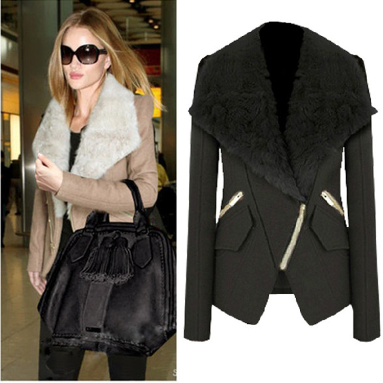 Cheap New Style Turndown Collar Long Sleeves Zipper Design Black Short Woolen Coat