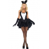 Cheap Sexy Patchwork Black Polyester Bunny Cosplay