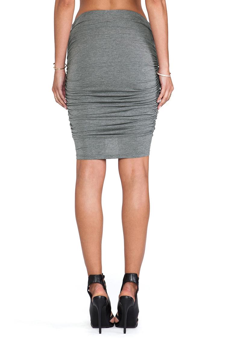 Cheap Fashion High Waist Drapes Design Solid Grey A Line Mini Bodycon Skirt