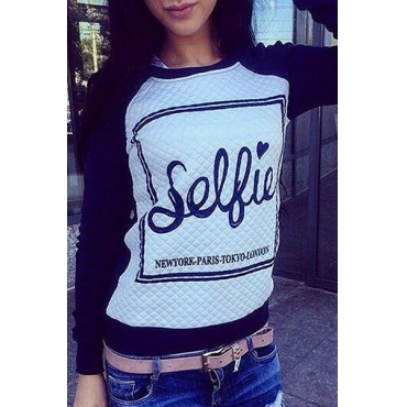 Cheap New Style Long Sleeves Patchwork Letters Print Black Cotton Blend Regular Pullover Sweat