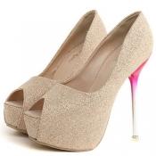 Cheap Fashion Round Peep Toe Platform Stiletto Sup