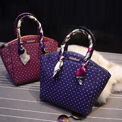 Cheap Fashion Zipper Design Polka Dots Print Blue PU Clutches Bag