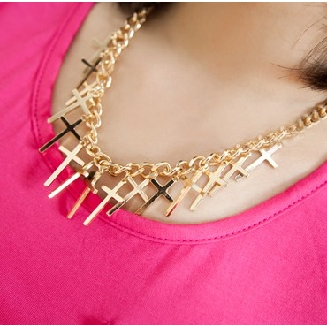 Cheap Fashion Cross Shaped Tassel Gold Metal Necklace