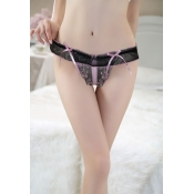 Cheap Sexy Lace Thong with Pink Bows