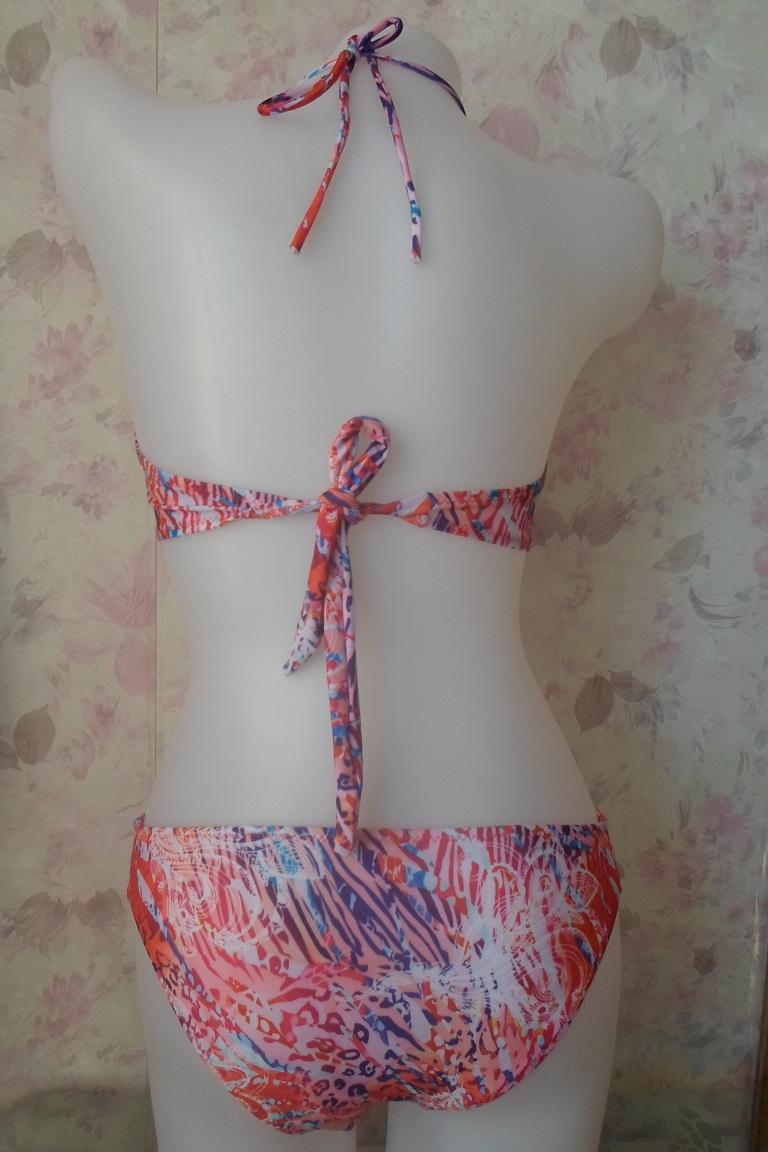 Cheap Sexy Halter Neck Strappy Hollow-errado floral cópia recortar dois-pedaço bikini roupa de banho