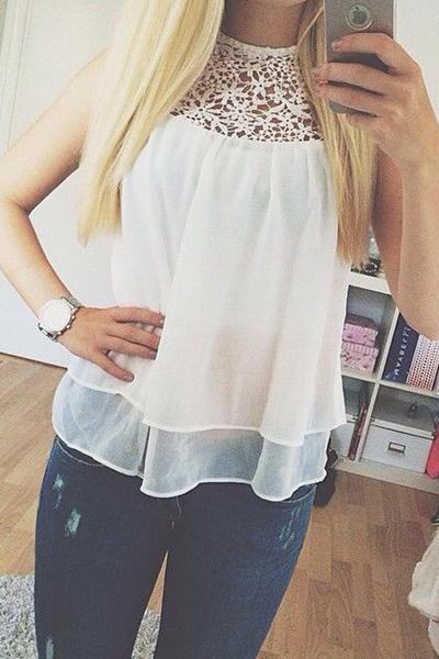 Cheap Sexy O Neck Sleeveless Mesh-lace Patchwork Solid White Chiffon Shirt