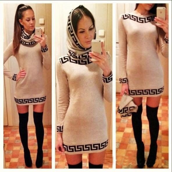 Casual Bateau Neck Long Sleeves Print Apricot Cotton Blend Sheath Mini Dress with Neckerchief
