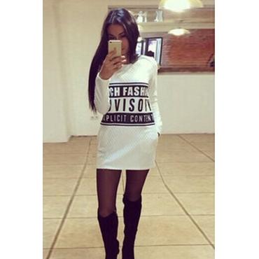 Cheap European Style Long Sleeves Letters Print White Blending Regular Pullover Sweat Dress