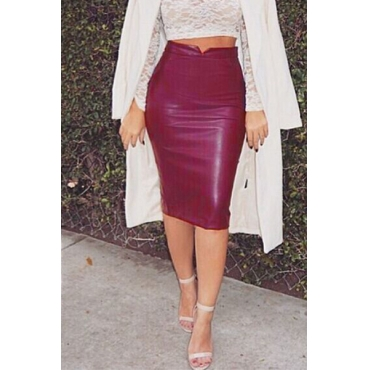 Cheap Sexy Solid Date Red Faux Leather Sheath Knee Length Skirt