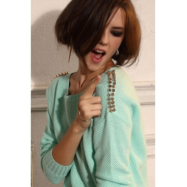 Cheap Sexy O Neck Long Sleeves Rivets Decorated Green Blending Regular Pullover Sweater