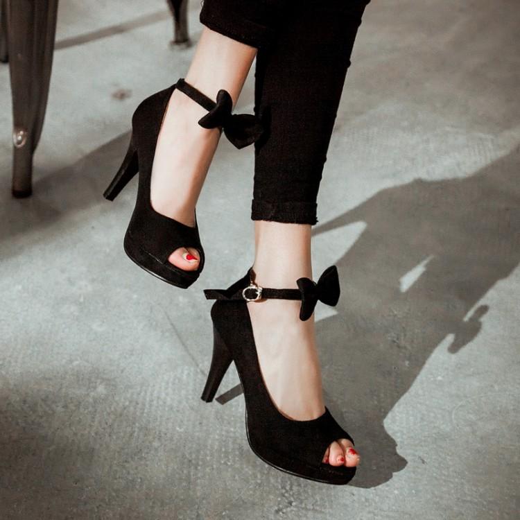 Cheap Vintage Peep Toe Stiletto Super High Heel Black Suede Ankle Strap Pumps