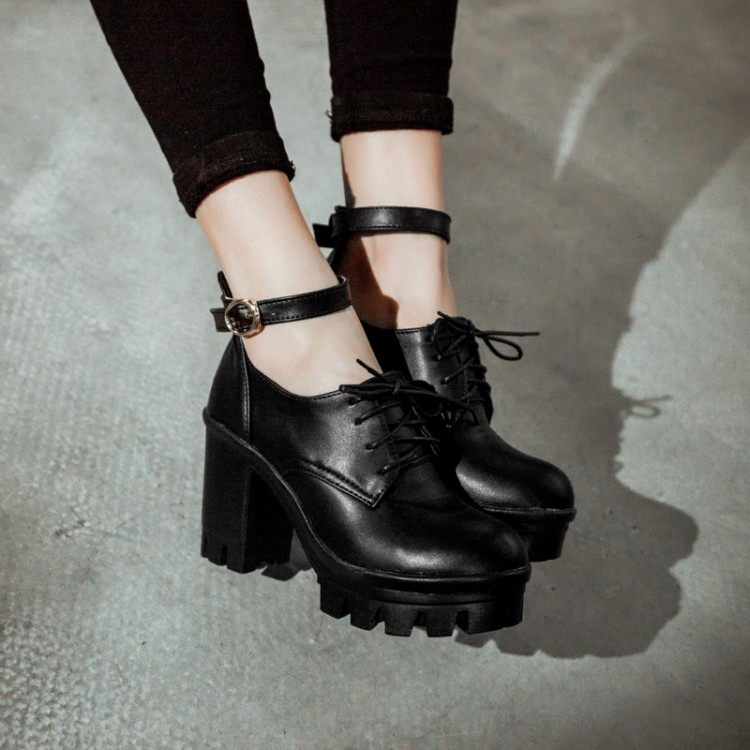 Cheap Fashion Round Closed Toe Lace-up Chunky High Heels Black PU ...