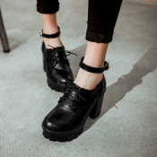 Cheap Fashion Round Closed Toe Lace-up Chunky High