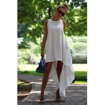 Cheap Fashion O Neck Tank Sleeveless Asymmetrical White Polyester A Line Dress