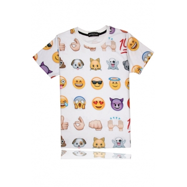 Cheap Casual O Neck Short Sleeves QQ Emoji Print White Blending Regular T-shirt