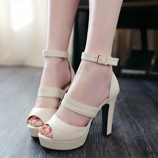 pas cher mode chunky super haut talon beige cheville sangle sandals sandals shoes. Black Bedroom Furniture Sets. Home Design Ideas