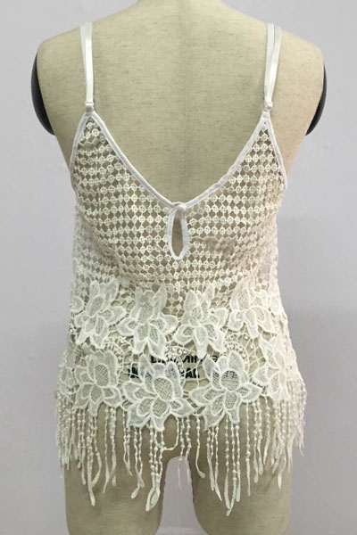Sexy V Neck Sleeveless Tassel Design Hollow-out Solid White Lace Top