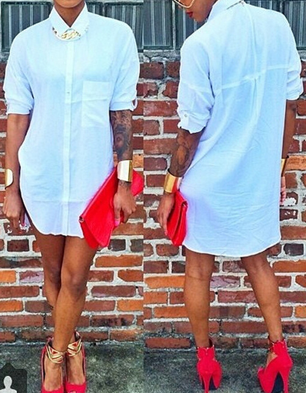 Fashion Turndown Collar Short Sleeves Asymmetrical White Cotton Blend A Line Mini Shirt Dress