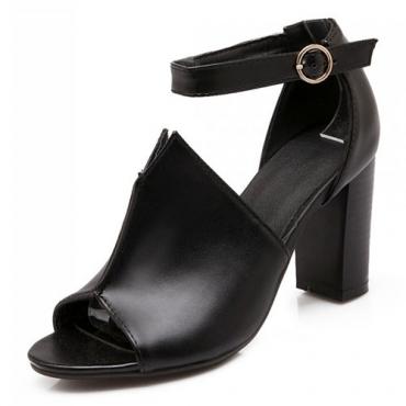 Fashion Peep Toe Chunky High Heel Black PU Ankle Strap Pumps