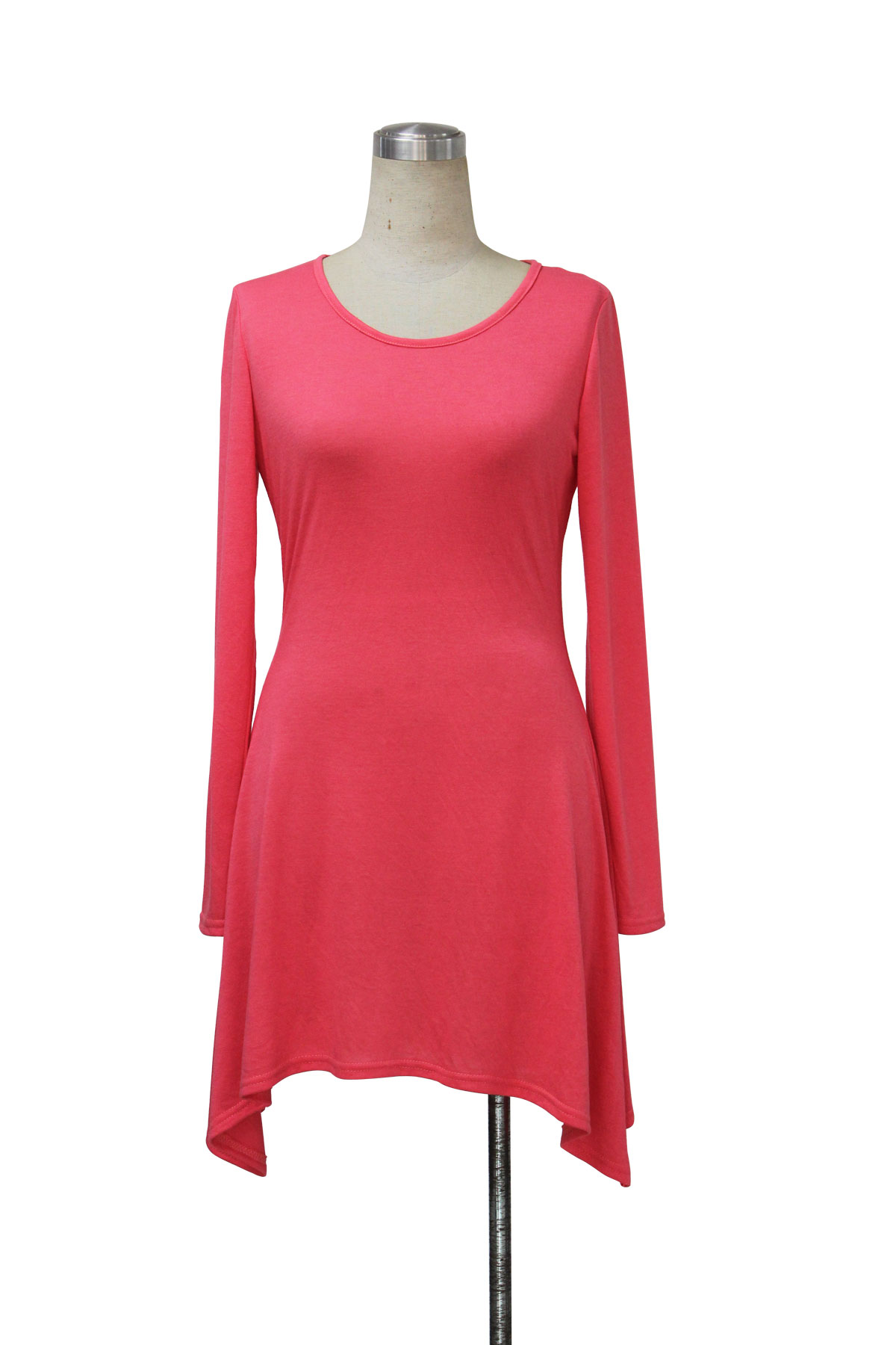 Fashion O Neck Long Sleeves Red Polyester A Line Mini Womens Dress
