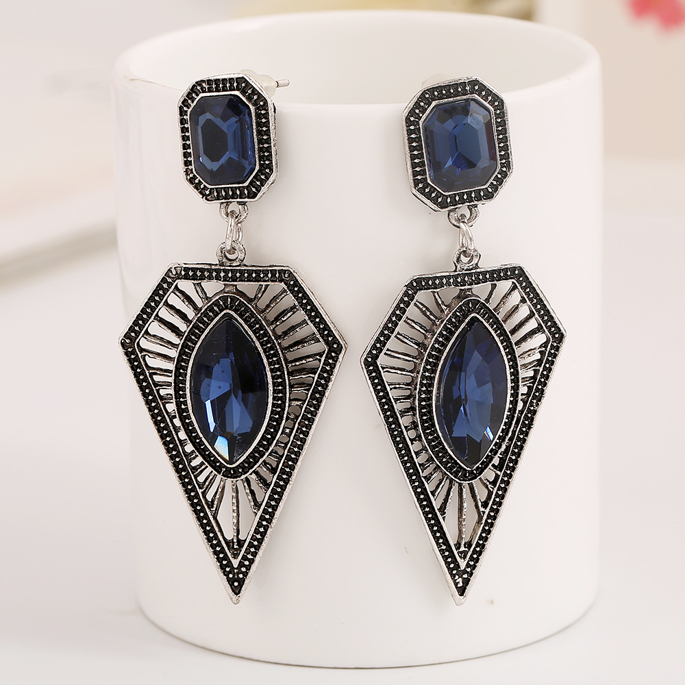 Fashion Rhinestone Embellished Geometrical Shaped Blue Metal Earring