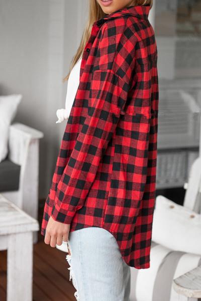 Casual Turndown Collar Long Sleeves Plaids Print Red Blending Shirt