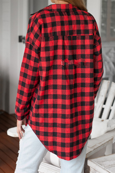 Casual Turndown Collar Long Sleeves Plaids Print Red Blending Shirt