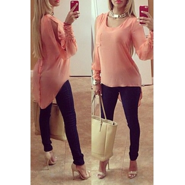 Sexy O Neck Long Split Sleeves Beaded Asymmetrical Solid Pink Polyester Shirt