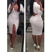 Polyester Sexy V Neck Long Sleeve Waist skirt Knee