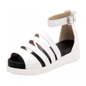 Fashion Peep Toe Cut-out Flat Low Heel White PU Gl