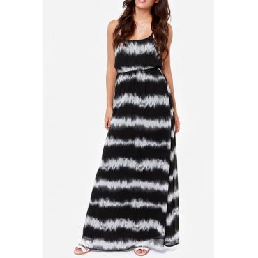 Fashion O Neck Spaghetti Strap Sleeveless Patchwork Striped Blending Ankle Length Dress