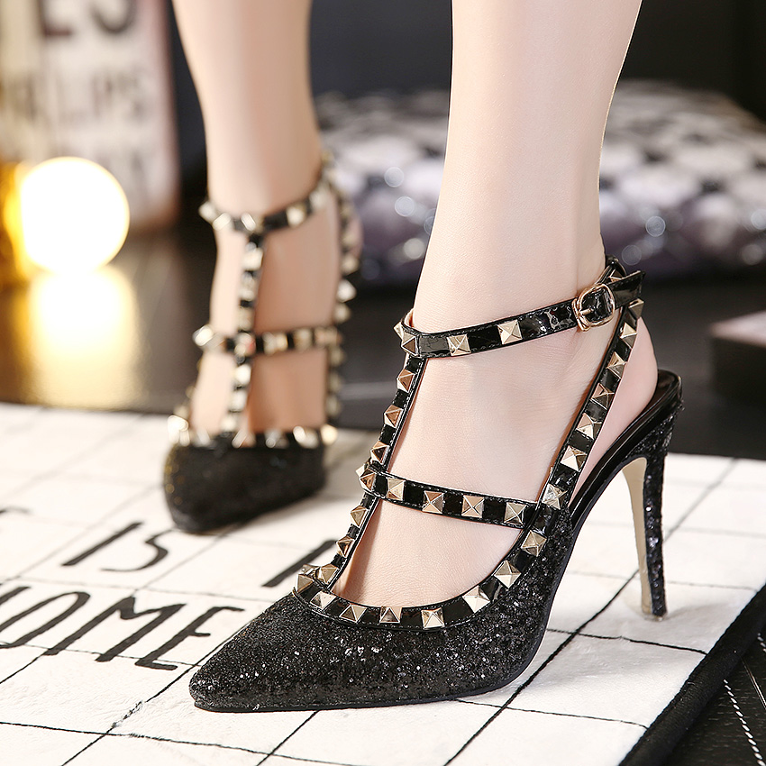 Fashion Round Closed Toe Stiletto Super High Heels Black PU T Strap Pumps