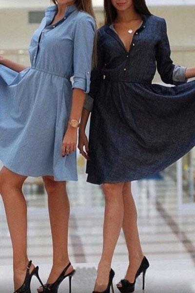 Fashion Turndown Collar Half Sleeves Black Polyester Knee Length Women Dress