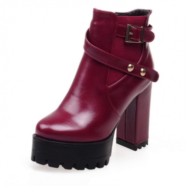 Winter Fashion Round Toe Zipper Design Chunky Super High Heel Red PU Ankle Buckle Boots