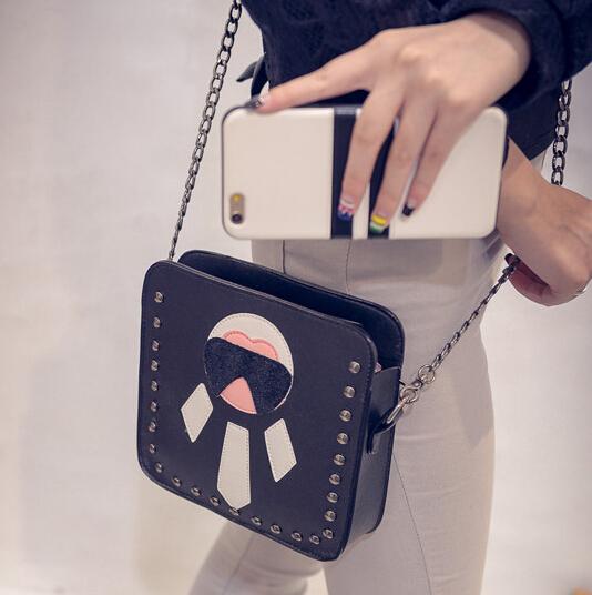 Fashion Zipper Design Rivets Decorated Print Black PU Slanting Bag