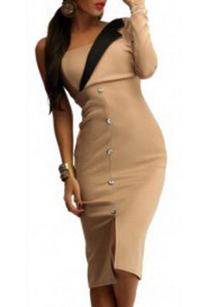 Fashion One Shoulder Long Sleeve Front Split Buckles Decorated Khaki Polyester Sheath Knee Length Dress