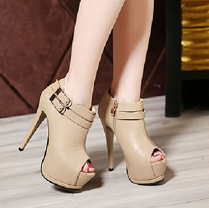 Fashion Round Toe Stilletto High Heels Apricot PU Ankle Buckle Martens Boots