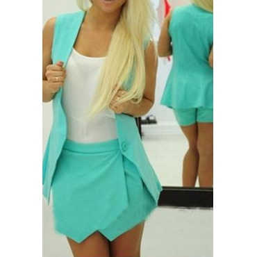 Fashion Sleeveless Blue Polyester Two-piece Outfit(Coat+Shorts)