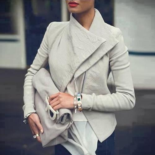 Fashion Turndown Collar Long Sleeves Zipper Design Short PU Jacket