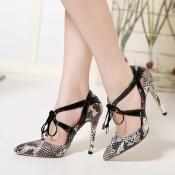 Fashion Pointed Closed Toe Snake Skin Print Lace-u
