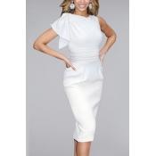 Polyester Fashion O neck Short Sleeve Sheath Mini