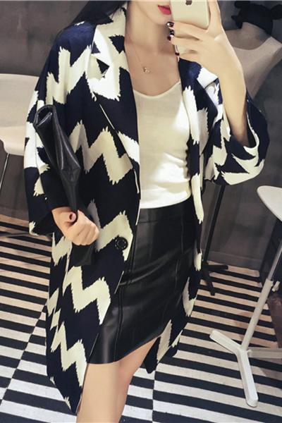 Fsashion Turndown Collar Long Sleeves Single-breasted Chevron Patchwork Blending Long Trench Coat