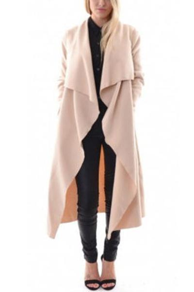 Fashion Turndown Collar Long Sleeves Apricot Blending Long Trench Coat