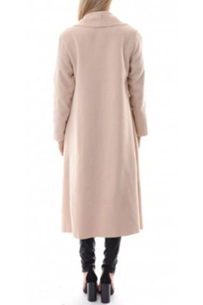 Fashion Turndown Collar Long Sleeves Apricot Blending Long Trench Coat