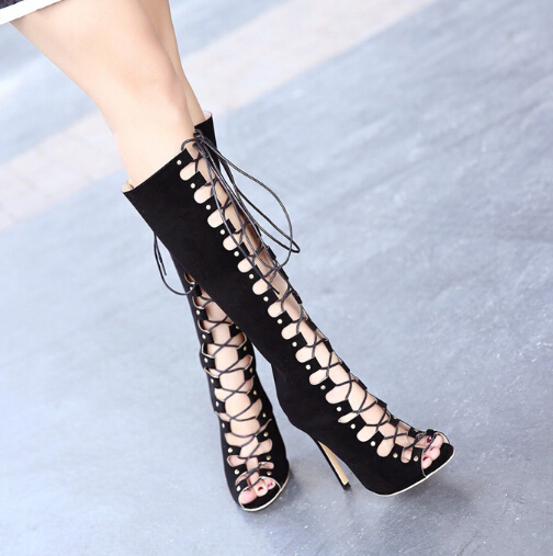 Fashion Round Peep Toe Hollow-out Lace-up Stiletto Super High Heel Black PU Basic Pumps