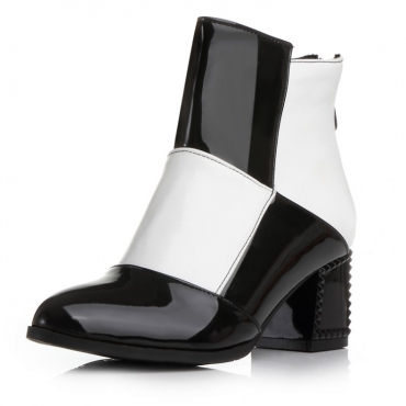 Spring Autumn Fashion Pointed Toe Zipper Design Patchwork Chunky High Heel Black-white PU Ankle Martens Boots